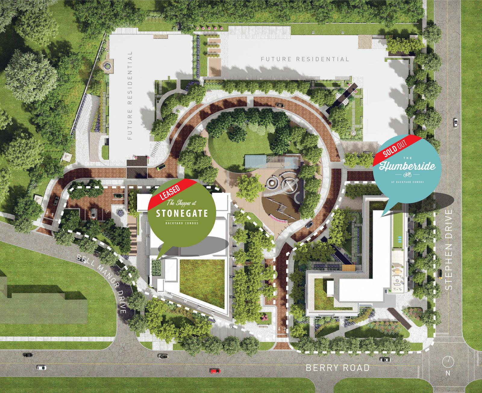 Site plan for Backyard Neighbourhood Condos in Etobicoke, Ontario