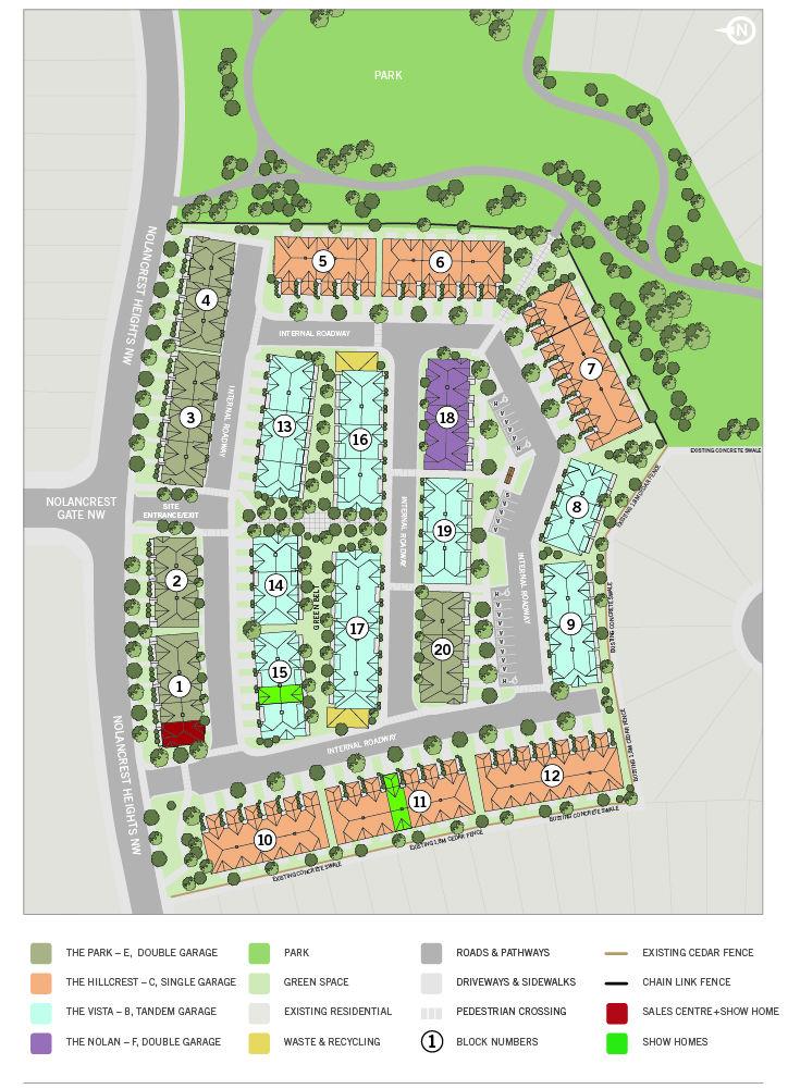 Site plan for Nolan Park in Calgary, Alberta
