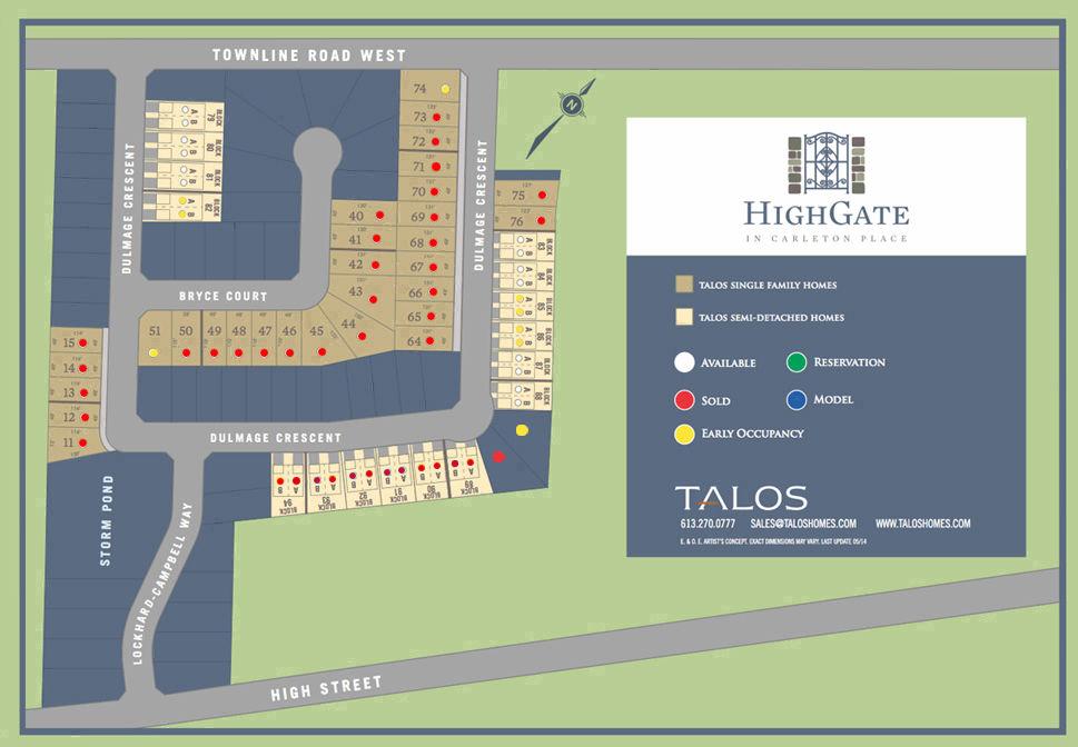 Site plan for Highgate in Carleton Place, Ontario