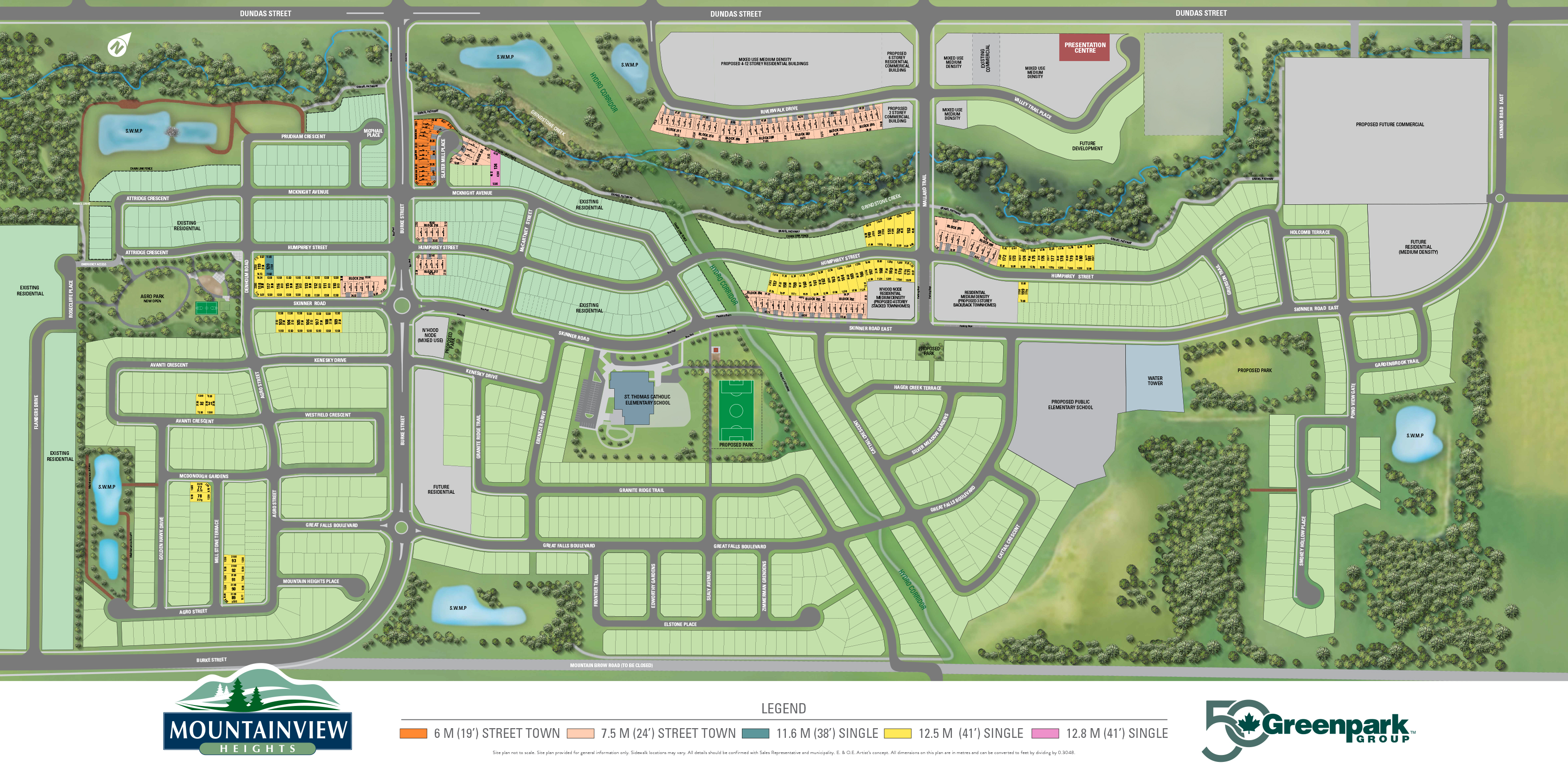Site plan for Mountainview Heights (GP) in Waterdown, Ontario