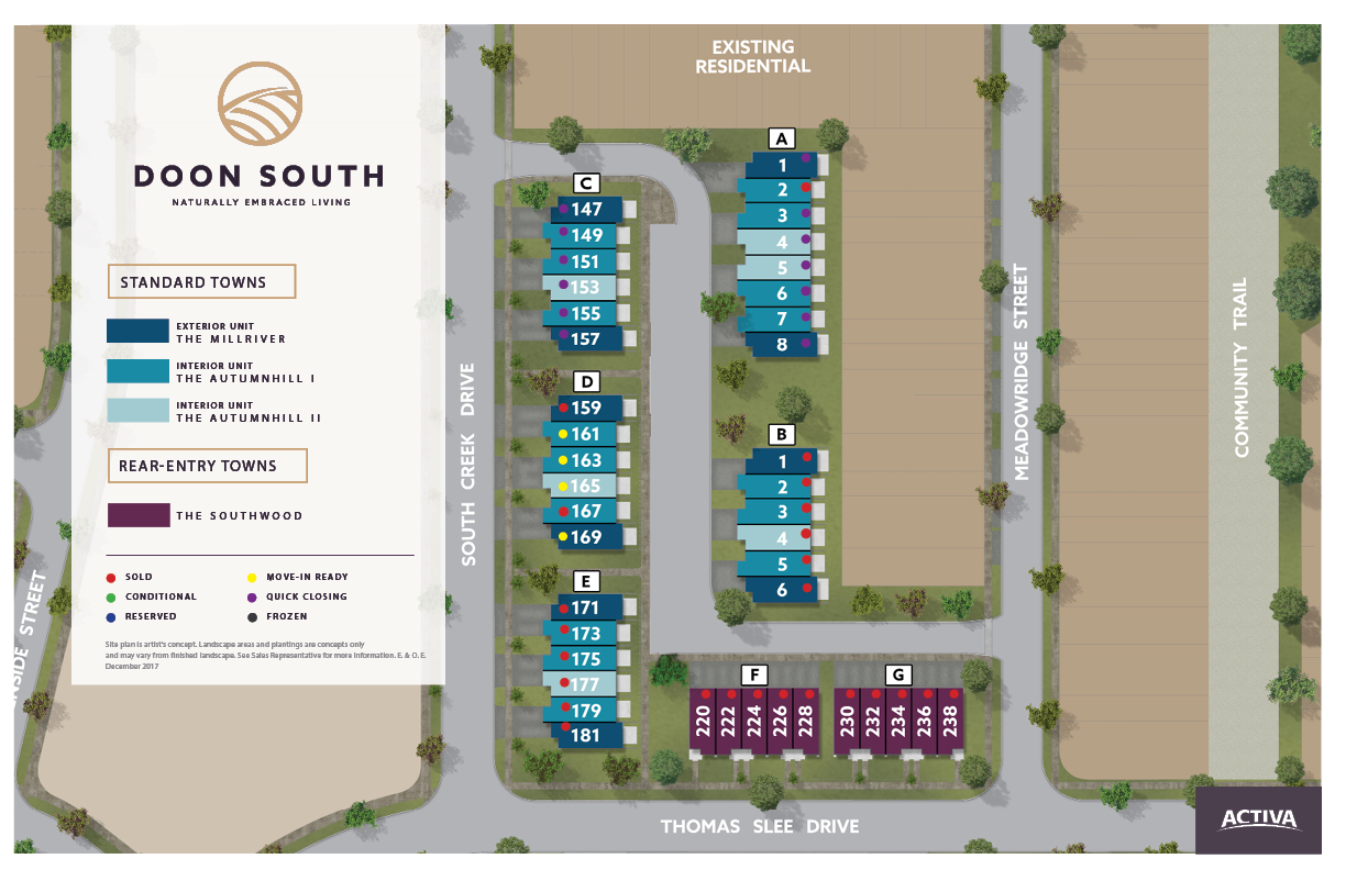 Site plan for Doon South in Kitchener, Ontario
