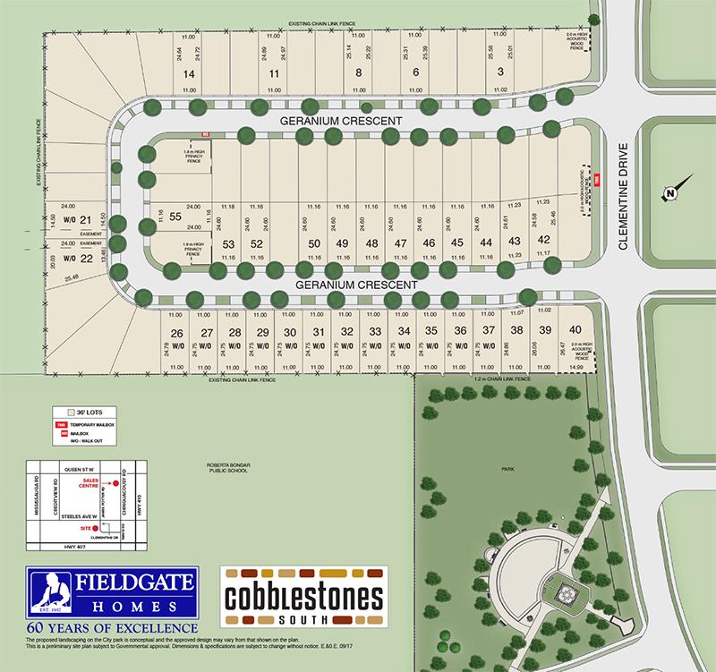 Site plan for Cobblestones South in Brampton, Ontario