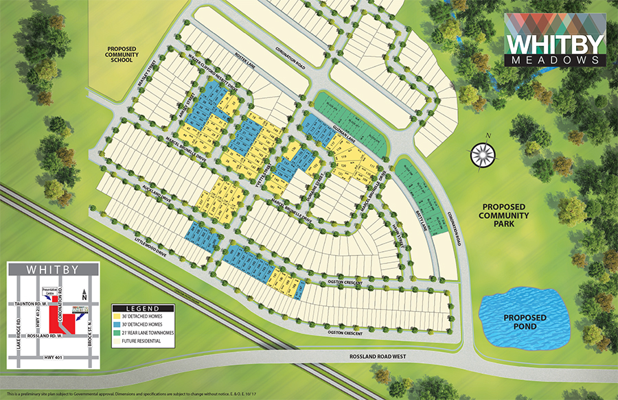 Site plan for Whitby Meadows in Whitby, Ontario
