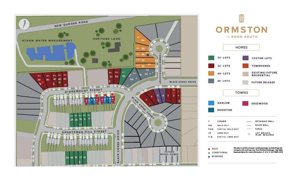Site plan for Ormston in Kitchener, Ontario