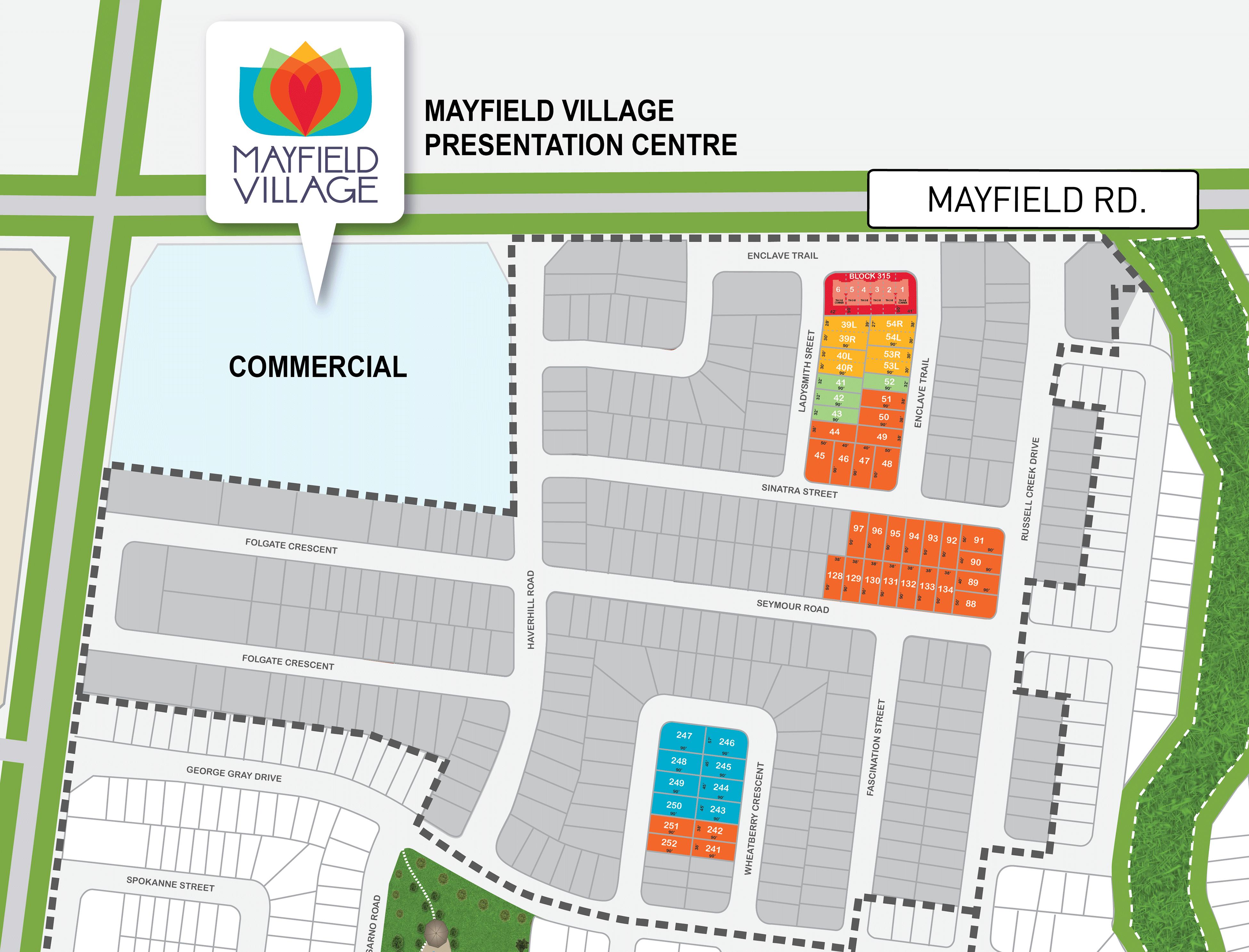 Site plan for Mayfield Village (CW) in Brampton, Ontario