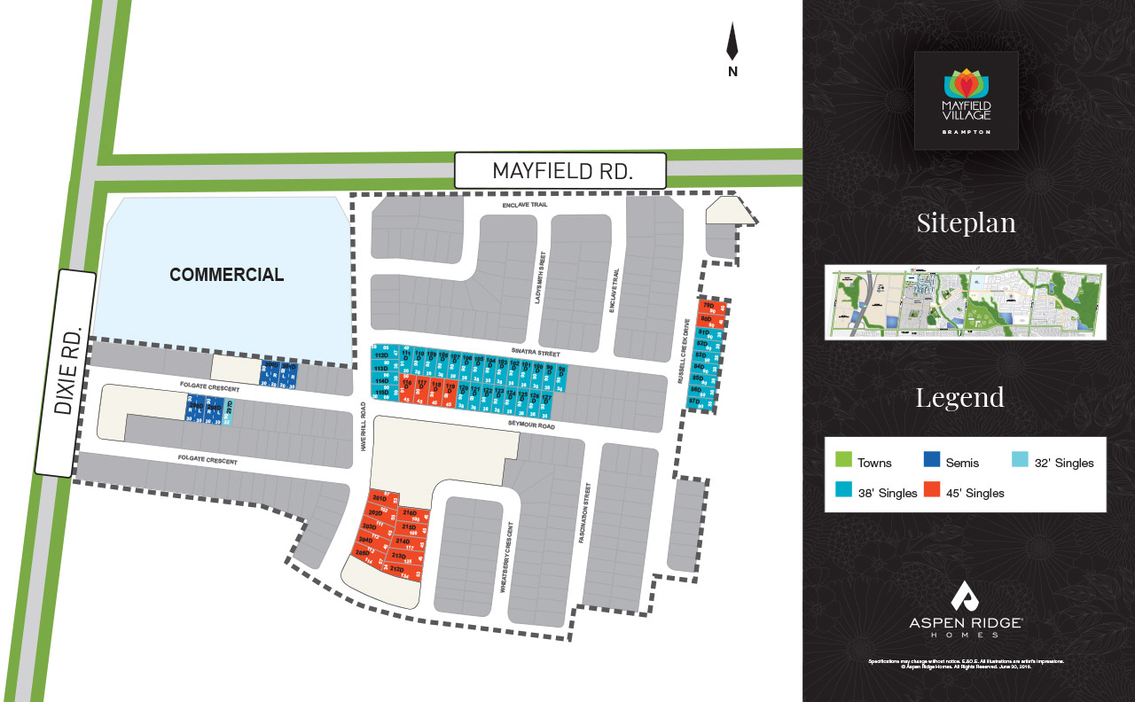 Site plan for Mayfield Village (AR) in Brampton, Ontario