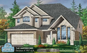 The Waterford new home model plan at the Nature's Edge by Carson Reid Homes in Fergus