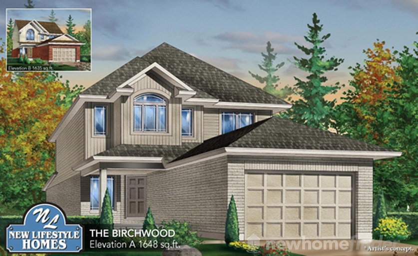 Birchwood floor plan at Explorers Walk (NL) by New LifeStyle Homes in Kitchener, Ontario