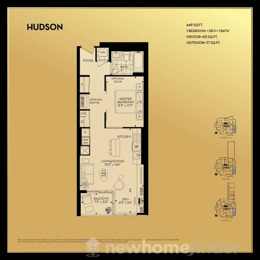 Hudson 1B+D floor plan at Yorkville Park by Minto Communities in Toronto, Ontario