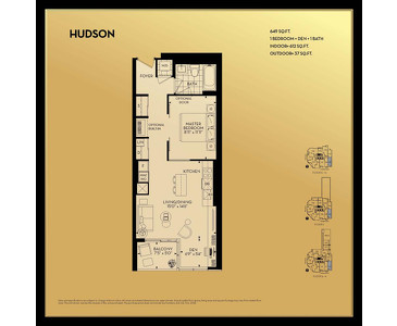 The Hudson 1B+D new home model plan at the Yorkville Park by Minto Communities in Toronto
