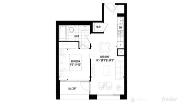 The 1 bedroom new home model plan at the 158 Front by Fernbrook Homes in Toronto