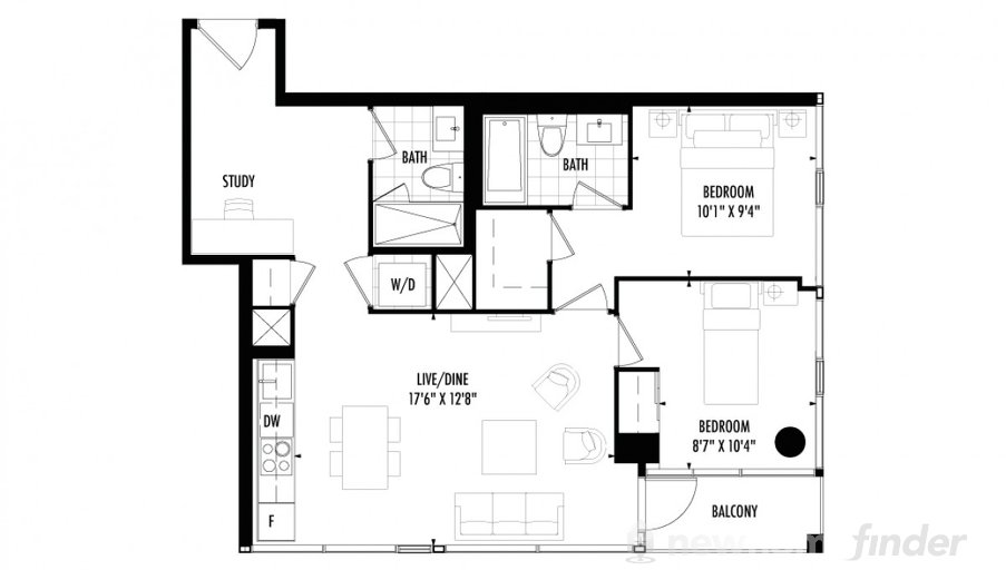 2 bedroom floor plan at 158 Front by Fernbrook Homes in Toronto, Ontario
