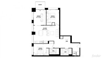 The 3 bedroom + den new home model plan at the 158 Front by Fernbrook Homes in Toronto