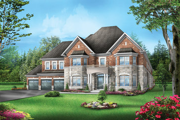 The Flagstone 1 new home model plan at the Vales of the Humber by Greenpark in Brampton