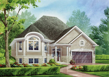 The Dali (elevation A) new home model plan at the MarLake Village by Red Berry Homes in Wasaga Beach