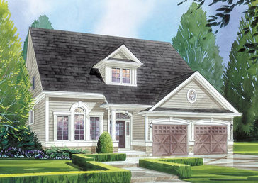 The Monet (elevation C) new home model plan at the MarLake Village by Red Berry Homes in Wasaga Beach
