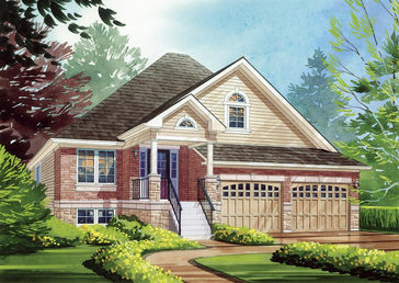 The Van Gogh (elevation B) new home model plan at the MarLake Village by Red Berry Homes in Wasaga Beach