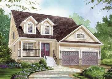 The Van Gogh (elevation C) new home model plan at the MarLake Village by Red Berry Homes in Wasaga Beach