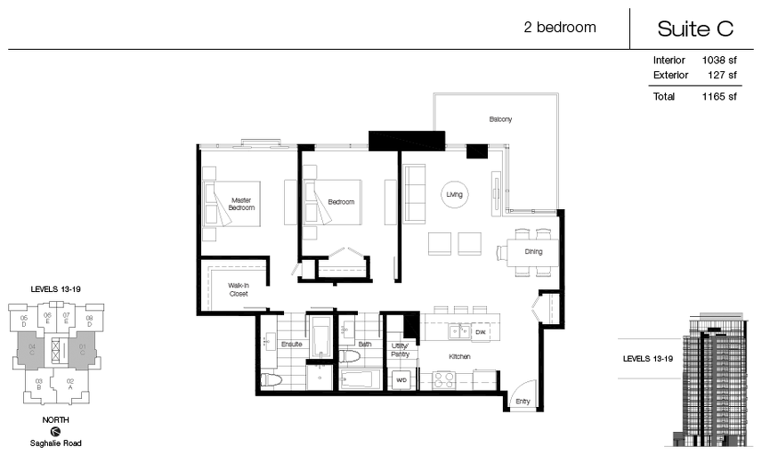 Suite C floor plan at Promontory At Bayview Place by Bosa Properties in Victoria, British Columbia