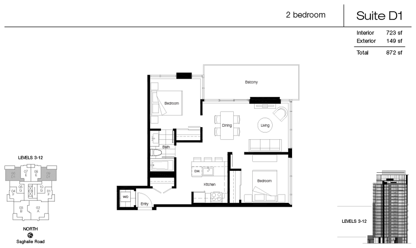 D1 floor plan at Promontory At Bayview Place by Bosa Properties in Victoria, British Columbia