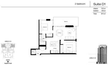 The D1 new home model plan at the Promontory At Bayview Place by Bosa Properties in Victoria