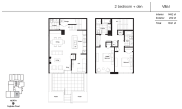 The Villa 1 new home model plan at the Promontory At Bayview Place by Bosa Properties in Victoria