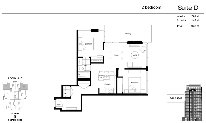 Suite D floor plan at Promontory At Bayview Place by Bosa Properties in Victoria, British Columbia