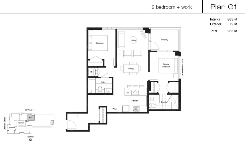 G1 floor plan at Lido by Bosa Properties in Vancouver, British Columbia