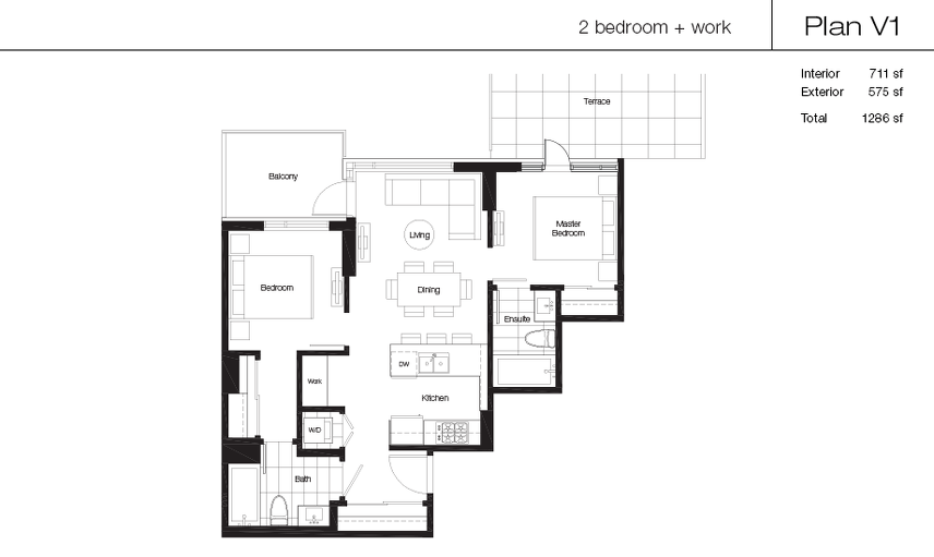 V1 floor plan at Lido by Bosa Properties in Vancouver, British Columbia
